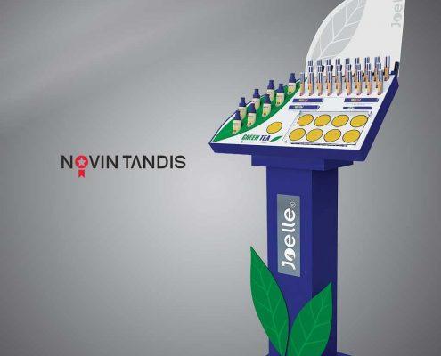 استند آرایشی جوئل - نمونه استند - طراحی استند - ساخت استند - آرشیپل - نمونه کار استند - نوین تندیس